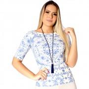 Blusa Feminina Manga Curta Estampa Exclusiva Azulejo Português Azul