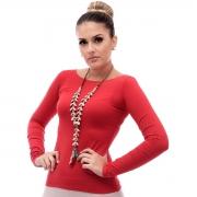Blusa Feminina Manga Longa Vermelha com Proteção Solar UV Fashion Decote Canoa