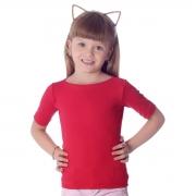 Blusa Infantil Feminina com Protetor Solar Vermelha Meia Manga Decote Canoa