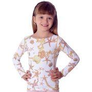 Blusa Infantil Manga Longa com Proteção Solar UV e Estampa Exclusiva Estrela do Mar