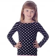 Blusa Infantil Proteção UV Manga Longa Poá Preta de Bolas Brancas Decote Canoa