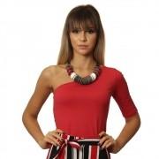 Blusa Feminina de Um Ombro Só Meia Manga Vermelha