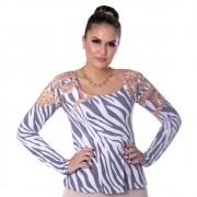 Blusa Feminina Manga Longa Estampa Exclusiva Zebra Barroco Decote Redondo  Evasê