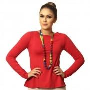 Blusa Feminina Manga Longa Vermelha com Proteção Solar UV Decote Canoa Evasê