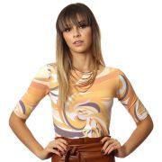Blusa Feminina Meia Manga com Proteção UV Fashion Estampa Exclusiva Orange Wave Decote Canoa