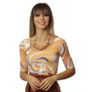 Blusa Feminina Meia Manga Estampa Exclusiva Orange Wave Decote Redondo