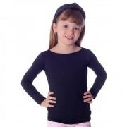 Blusa Infantil Feminina com Proteção Solar Preta Manga Longa Decote Canoa