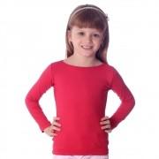 Blusa Infantil Feminina Manga Comprida Vermelha Decote Canoa