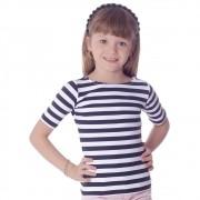Blusa Infantil Feminina Meia Manga Estampa Branca com Listras Pretas Finas Decote Canoa