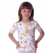 Blusa Infantil Meia Manga com Proteção UV Estampa Exclusiva Estrela do Mar Decote Canoa