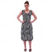 Camisola Feminina Longuete de Alça com Viés Preto em Estampa Animal Print de Zebra
