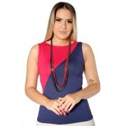 Regata Com Duas Cores Azul Marinho e Vermelha Feminina Decote Canoa