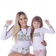 Kit Mãe e Filha Blusas FICALINDA Estampa Exclusiva Brasil 10 Manga Longa Decote Canoa EVASÊ