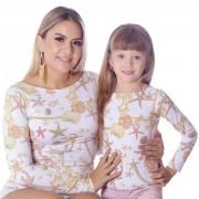 Kit Mãe e Filha Blusas FICALINDA Estampa Exclusiva Estrela do Mar Manga Longa Decote Canoa