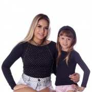 Kit Mãe e Filha Blusas FICALINDA Pretas Manga Longa Decote Canoa