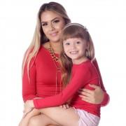 Kit Mãe e Filha Blusas FICALINDA Vermelhas Manga Longa Decote Canoa