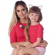 Kit Mãe e Filha Blusas FICALINDA Vermelhas Meia Manga Decote Canoa