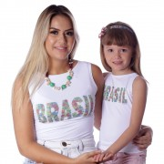 Kit Mãe e Filha Regatas FICALINDA Estampa Exclusiva Brasil 10 Decote Canoa