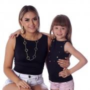 Kit Mãe e Filha Regatas FICALINDA Pretas Decote Canoa EVASÊ