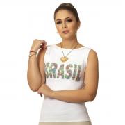 Regata Feminina Estampa Exclusiva Copa do Mundo BRASIL 10 Decote Canoa