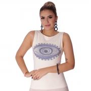 Regata Feminina Estampa Exclusiva Olho Grego Decote Canoa
