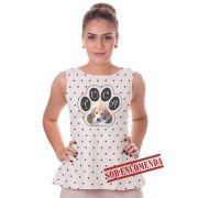 Regata Feminina Estampa de Cachorro ou Gato Personalizada