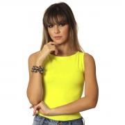 Regata Feminina Neon Verde Limão Decote Canoa