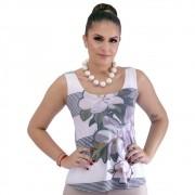Regata Feminina Estampa Exclusiva Maxi Mag com Listras Decote Redondo Evasê