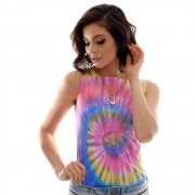 Regata Feminina Estampa Exclusiva Tie Dye Decote Canoa