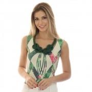 Regata Feminina Estampa Geométrica Exclusiva Verde com Flores Decote Redondo