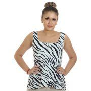 Regata Feminina Estampa Zebra Decote Redondo Evasê