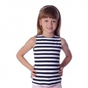 Regata Infantil Feminina Estampa Branca com Listras Pretas Finas Decote Canoa
