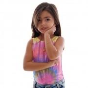 Regata Infantil Feminina Estampa Exclusiva Tie Dye Decote Canoa
