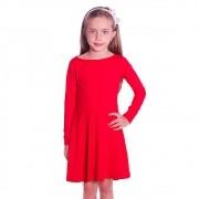 Vestido Infantil Vermelho Manga Longa Decote Canoa