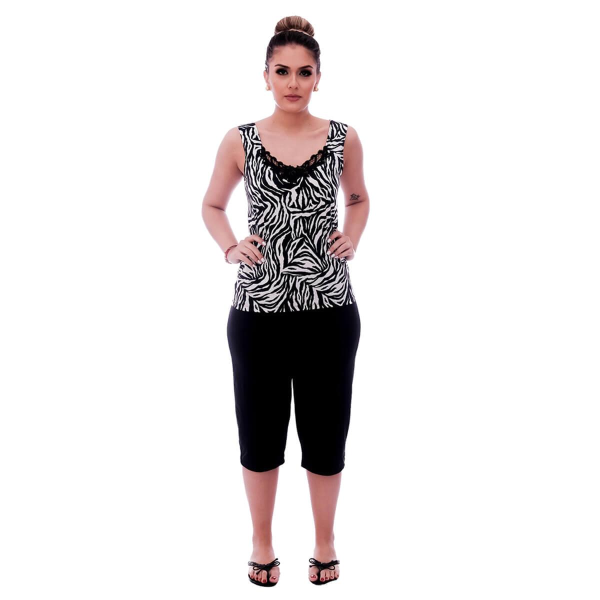 Baby Doll de Blusa Alça Estampa Animal Print de Zebra com Renda Gripir Preta no Decote e Bermuda Midi Preta