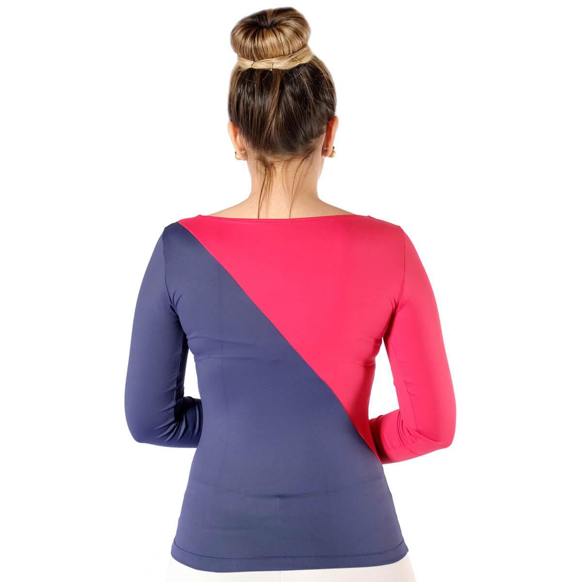 Blusa Com Duas Cores Azul marinho e Vermelha Feminina Manga longa Decote Canoa