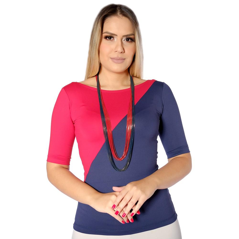 Blusa Com Duas Cores Azul Marinho e Vermelha Feminina Meia Manga Decote Canoa