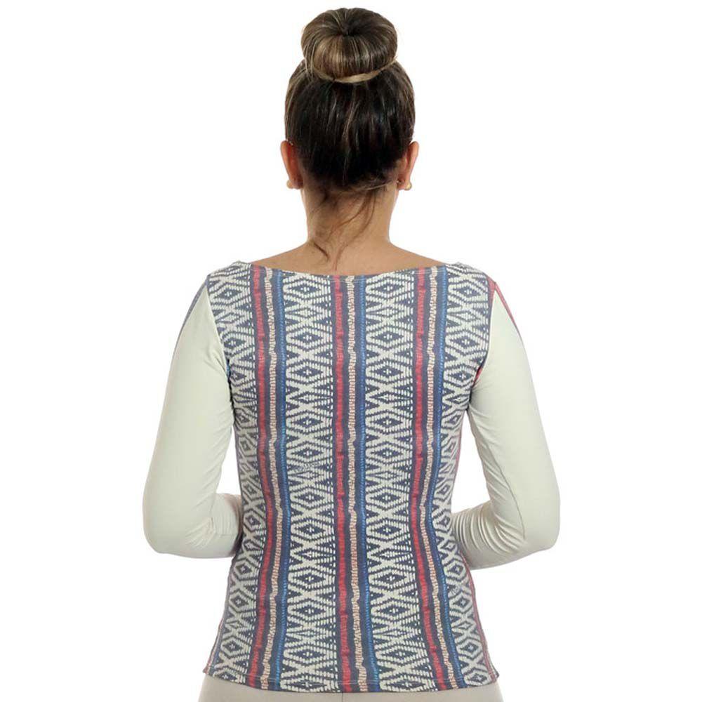 3fbc7630d5 ... Blusa com Proteção Solar UV Feminina Estampa Étnica Tribal Exclusiva  Decote Canoa ...