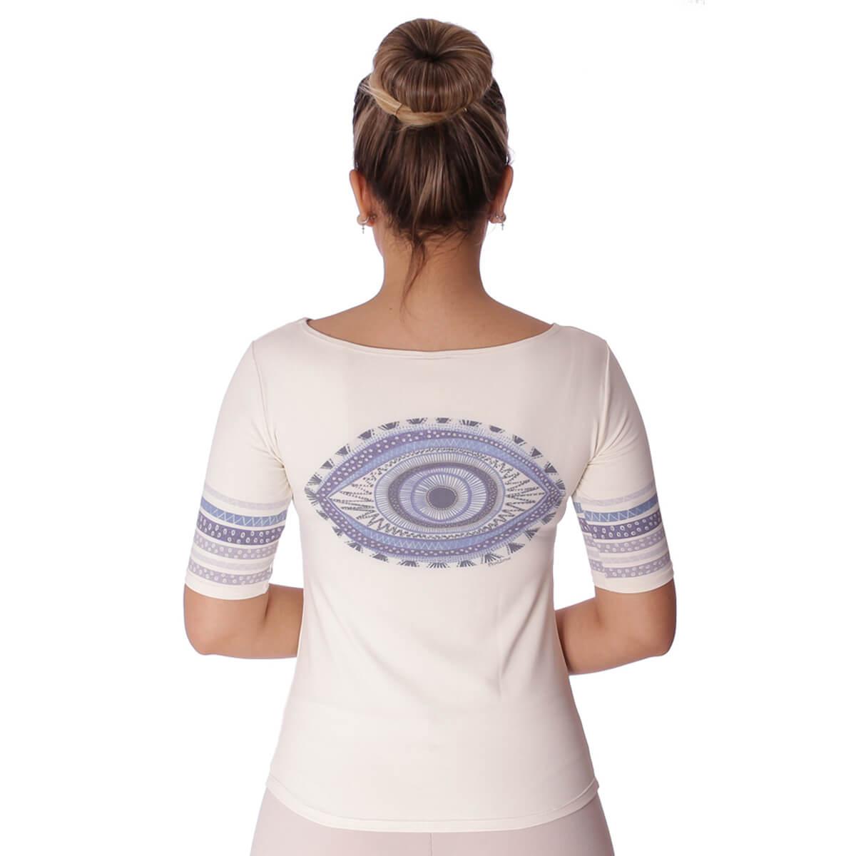 Blusa com Proteção Solar UV Feminina Manga Curta Estampa Exclusiva Olho Grego Decote Canoa