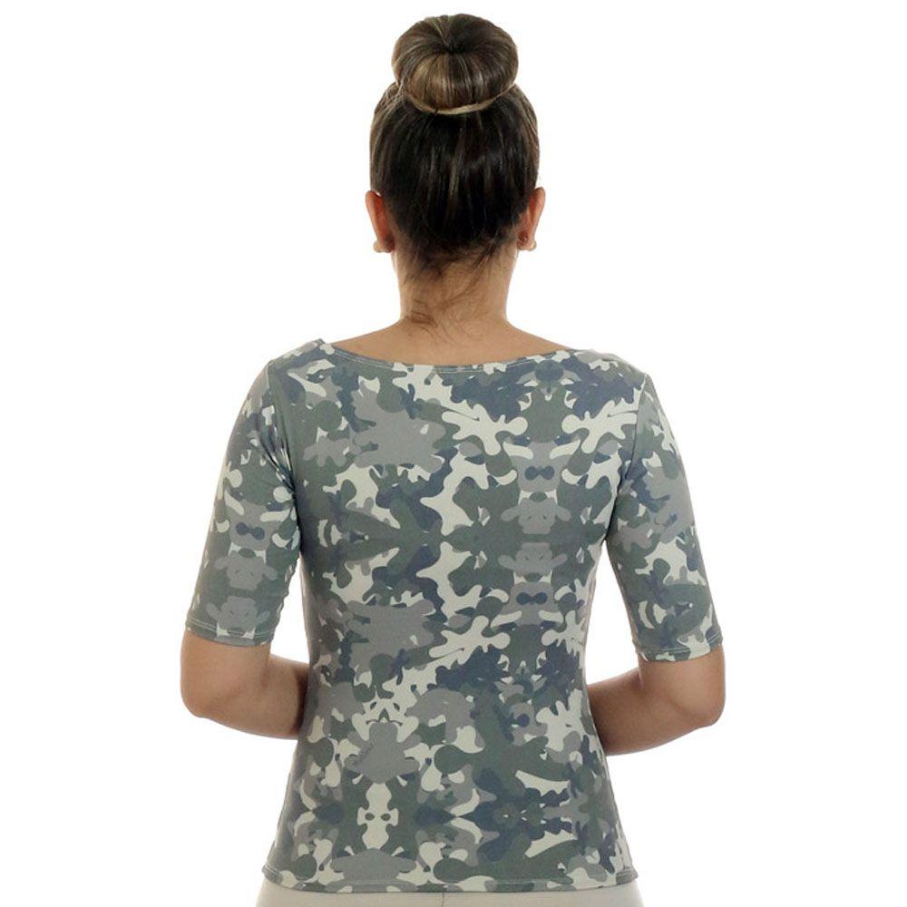 Blusa com Proteção UV Feminina Meia Manga Estampa Militar Exclusiva Decote Canoa