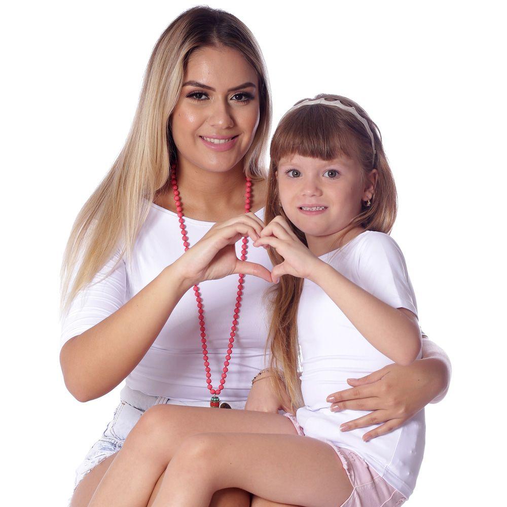 Blusa com Proteção UV Infantil Branca Manga Curta Decote Canoa