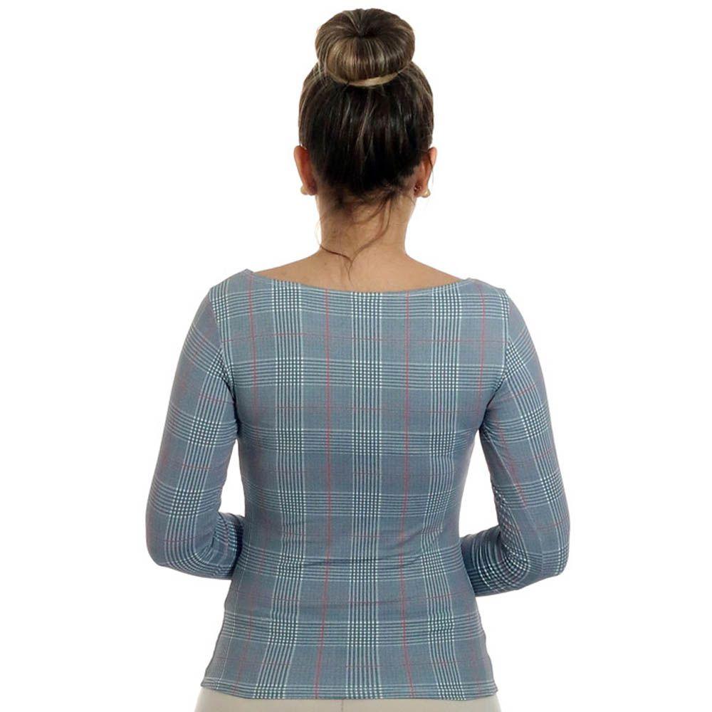 Blusa Feminina com Proteção Solar UV Estampa Exclusiva Príncipe de Gales Decote Canoa