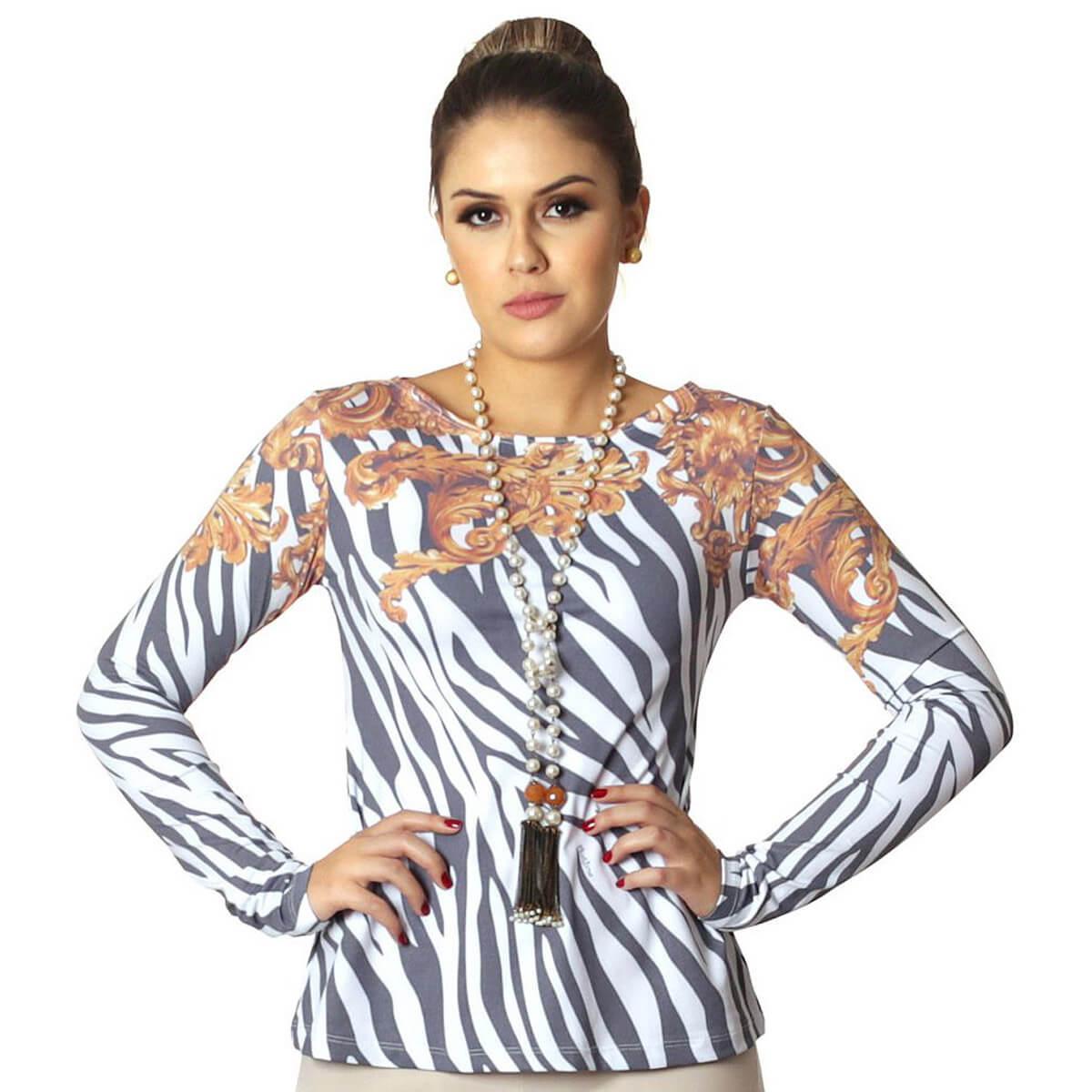 Blusa Feminina com Proteção Solar UV Estampa Zebra Barroco Evasê