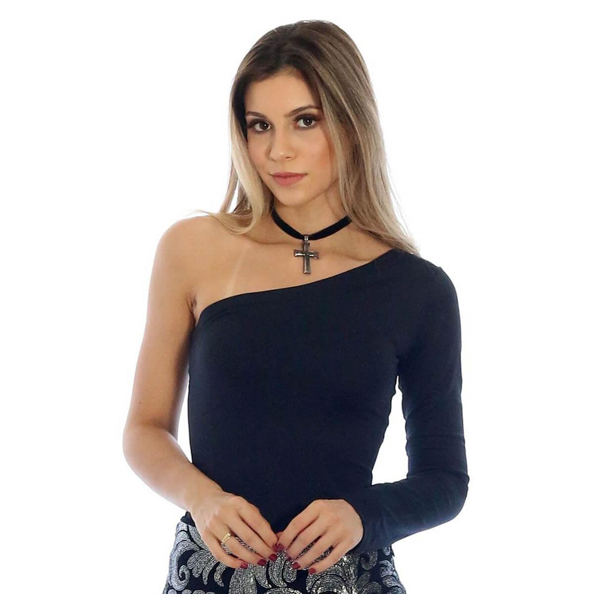 Blusa Feminina de Ombro Só Manga Longa Preta