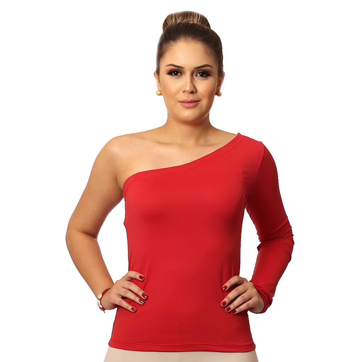 Blusa Feminina de Ombro Só Manga Longa Vermelha