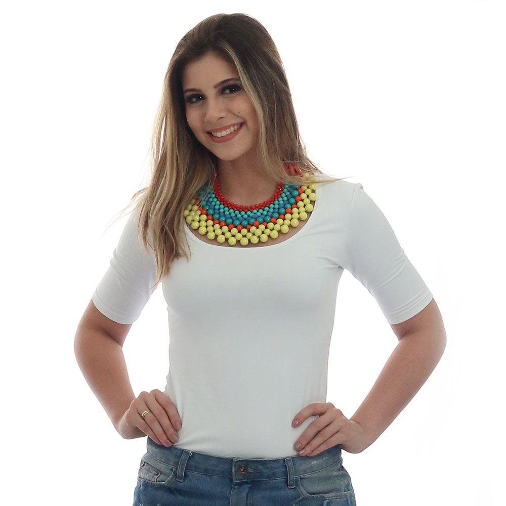 c38e33df8 Blusa Feminina Manga Curta Branca Decote Redondo - FicaLinda ...