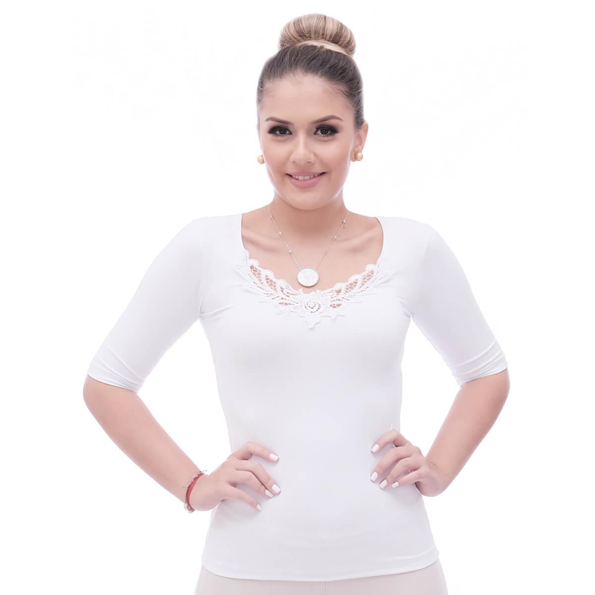 Blusa Feminina Manga Curta Branca Decote Redondo com Renda Guipir Branca