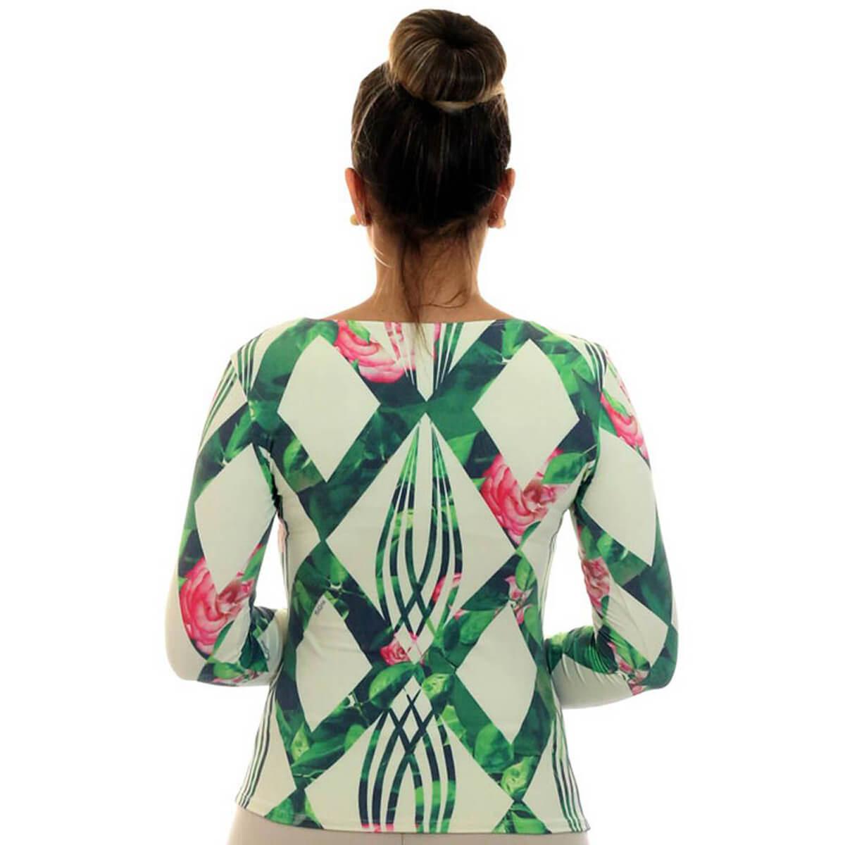 Blusa Feminina Manga Longa Estampa Geométrica Exclusiva Verde com Flores Decote Redondo