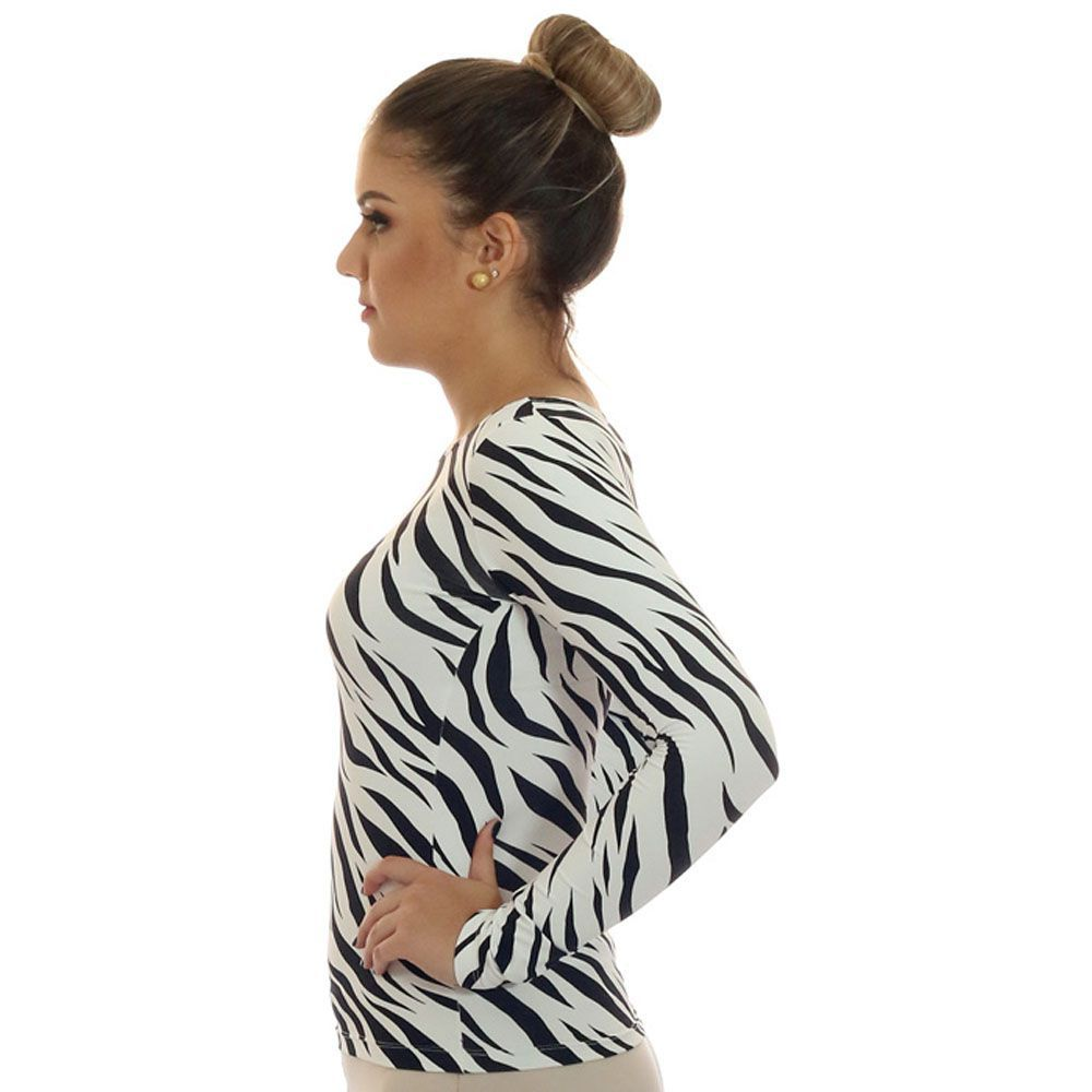 Blusa Feminina Manga Longa Estampa Zebra Decote Canoa