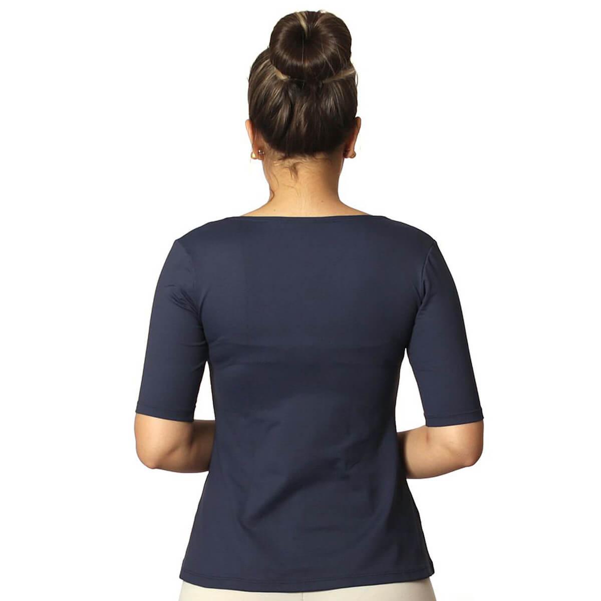 Blusa Feminina Meia Manga Azul Marinho Decote Redondo Evasê